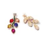 boucles doreilles fantaisie pendantes colorées chic femme pas cher en ligne pierres strass