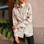 chemise à boutons et manches longues hiver cuir pu beige brique femme la selection parisienne en ligne 2