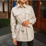 chemise à boutons et manches longues hiver cuir pu beige brique femme la selection parisienne en ligne 1