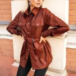 chemise à boutons et manches longues hiver cuir pu marron brique femme la selection parisienne en ligne