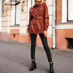 chemise à boutons et manches longues hiver cuir pu marron brique femme la selection parisienne en ligne 2