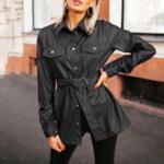 chemise à boutons et manches longues hiver cuir pu noir brique femme la selection parisienne en ligne