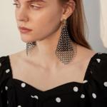 boucles doreilles fantaisies pendantes noires à strass cristal retro chic en ligne pas chères pour femme 2