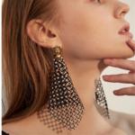 boucles doreilles fantaisies pendantes noires à strass cristal retro chic en ligne pas chères pour femme