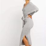 robe portefeuille midi grise mode femme hiver en ligne la selection parisienne