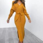 robe portefeuille midi jaune mode femme hiver en ligne la selection parisienne