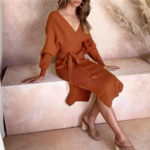robe portefeuille midi rouge brique mode femme hiver en ligne la selection parisienne 3