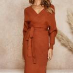robe portefeuille midi rouge brique mode femme hiver en ligne la selection parisienne