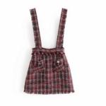 robe salopette tweed rouge femme tendance pas cher la selection parisienne en ligne