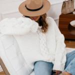 pull à grosses mailles blanc femme hiver tendance mode en ligne la selection parisienne
