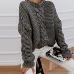 pull à grosses mailles brun femme hiver tendance mode en ligne la selection parisienne 1