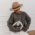 pull à grosses mailles brun femme hiver tendance mode en ligne la selection parisienne