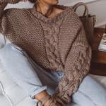 pull à grosses mailles marron femme hiver tendance mode en ligne la selection parisienne 1