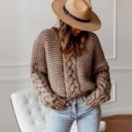pull à grosses mailles marron femme hiver tendance mode en ligne la selection parisienne