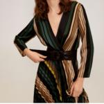 robe mi longue imprimée vert beige à manches longues et col V chic femme automne hiver eshop mode pas cher en ligne la selection parisienne