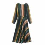 robe mi longue imprimée vert beige chic femme automne hiver eshop mode pas cher en ligne la selection parisienne 2
