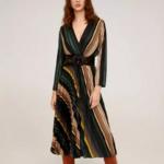 robe mi longue imprimée vert beige chic femme automne hiver eshop mode pas cher en ligne la selection parisienne