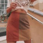 mini jupe tricolore marron orange pour femme mode automne hiver la selection parisienne eshop boutique tendance