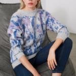 pull imprimé bleu et blanc pour femme tendance en ligne  2
