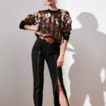 pull imprimé marron noir pour femme tendance en ligne 1
