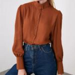 chemisier marron chic femme automne hiver