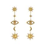 Boucles doreilles pendantes  fantaisies dorées oeil étoiles boho eshop bijoux femme pas cher