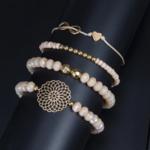 ensemble bracelets fantaisie rose doré perle femme bijoux tendance en ligne pas cher la selection parisienne