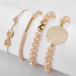 ensemble bracelets fantaisie rose doré perle femme bijoux tendance en ligne pas cher parisienne