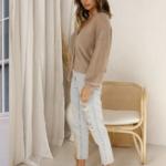 cardigan marron mohair femme gilet hiver vetement pas cher tendance en ligne 1