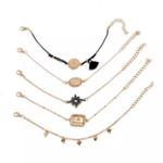 ensemble bracelets boho fantaisie noir doré pour femme tendance bijoux pas cher en ligne