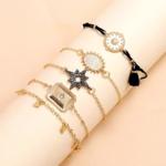ensemble bracelets boho fantaisie noir doré pour femme tendance pas cher en ligne la selection parisienne
