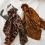 Bricolage-imprim-l-opard-noeud-nou-Long-ruban-queue-de-cheval-charpe-cheveux-cravate-chouchous-femmes