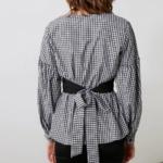 blouse imprimée vichy noir et blanche mode femme en ligne chic originale