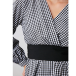 blouse imprimée vichy noir et blanche boutique mode femme en ligne pas chere