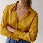 chemise en soie jaune femme satin basique chic