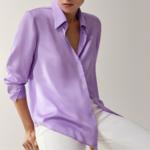 chemise en soie mauve femme satin basique chic