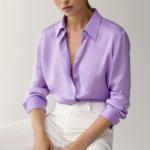 chemise en soie mauve femme satin basique chic boutique mode en ligne