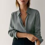 chemise en soie vert deau femme satin basique chic la selection parisienne
