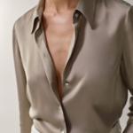 chemisier beige taupe en soie femme satin basique chic boutique mode en ligne