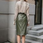 jupe crayon kaki simili cuir femme chic