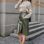 jupe crayon kaki simili cuir boutique en ligne