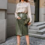 jupe crayon kaki simili cuir mode femme