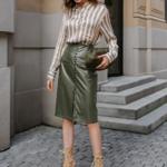 jupe crayon kaki simili cuir