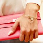 Bracelet jonc initale lettre doré