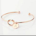 Bracelet jonc initale lettre rose gold