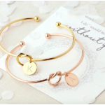 Bracelet jonc initiale or or rose lettre cuivre Montmartre femme