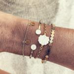 bracelet jonc multirang doré blanc Bijou fantaisie femme La Selection Parisienne