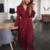 robe longue rouge imprimée à pois croisée manches longues mode femme en ligne automne hiver
