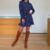 robe bleue imprimée coeurs courte à manches longues pour femme mode automne hiver en ligne 3