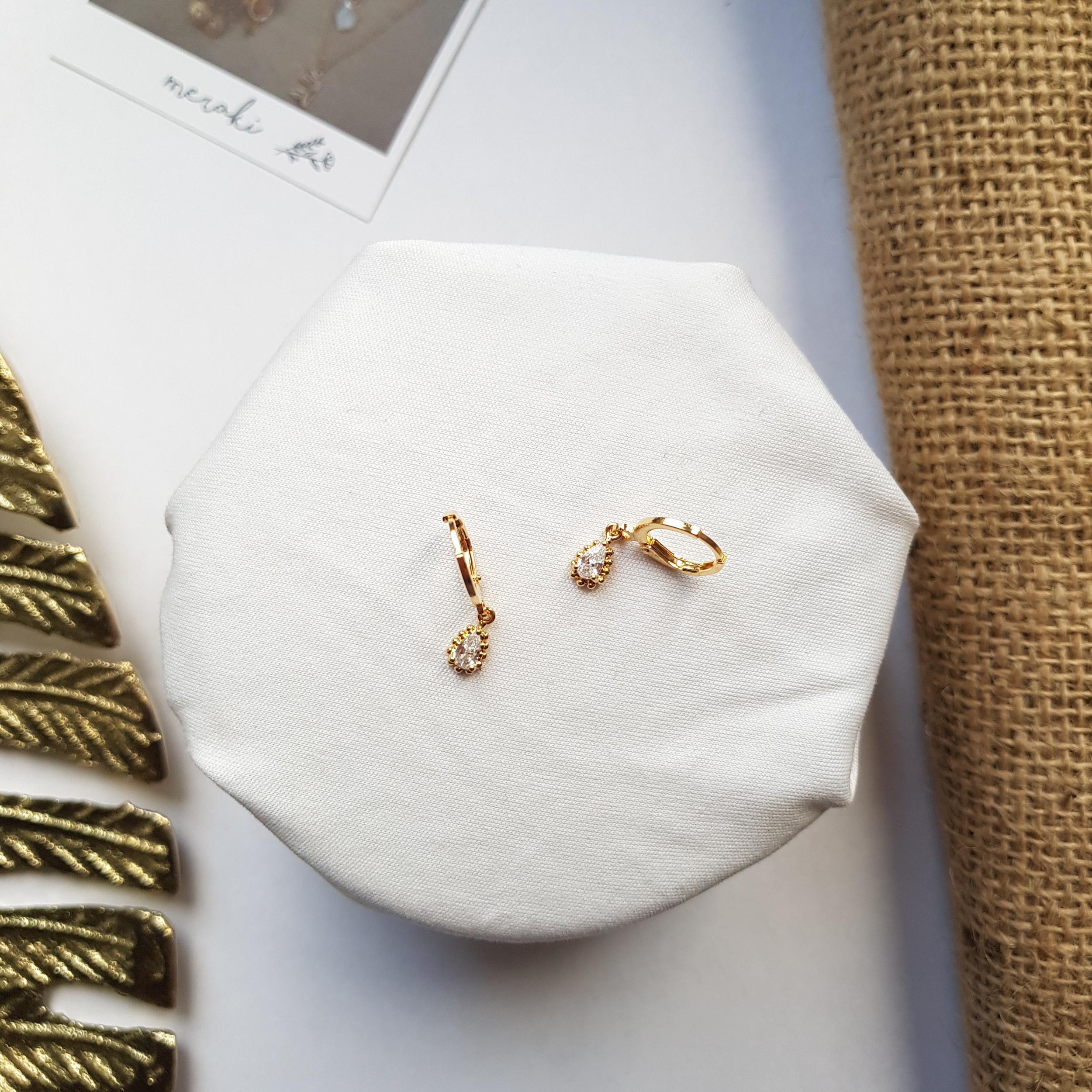 Mini créoles - Mini Crystal Drop gold